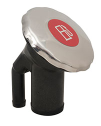 Sealed Ratcheting Cap Fills with Pressure Relief and Color Coded Metallic Insert - Angled Neck